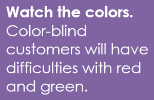 Watch the colors. Color-blind customers will have difficulties with red and green.